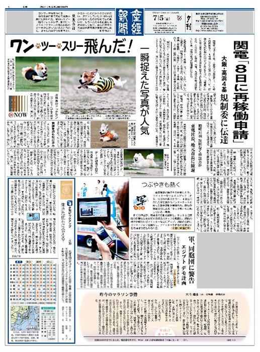 産経新聞の1面に飛行犬
